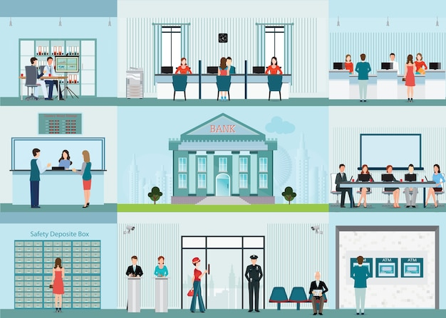 Bank building and finance infographic with office