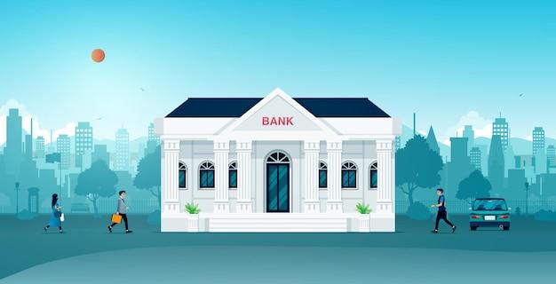 도시의 시민과 사업가를위한 은행 건물.