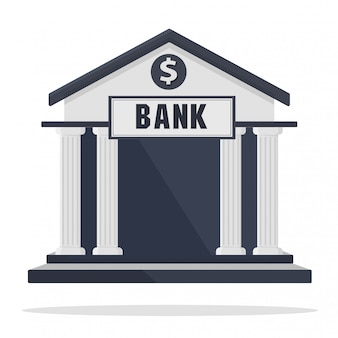 Bank building icon isolated on white
