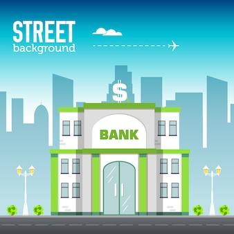 Здание банка в городском пространстве с дорогой на плоской концепции фона