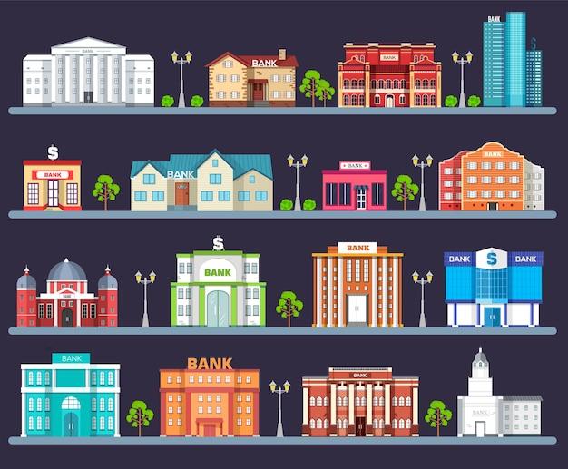 Здание банка в городском пространстве с дорогой на плоском фоне syle