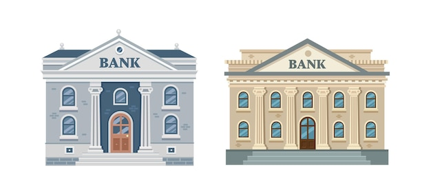 열과 흰색 배경에 고립 된 은행 건물 고전 건축
