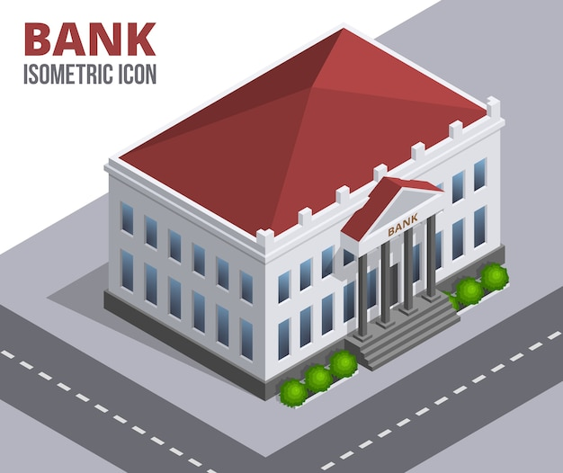 Bank building. isometric illustration of a building with columns and red roof