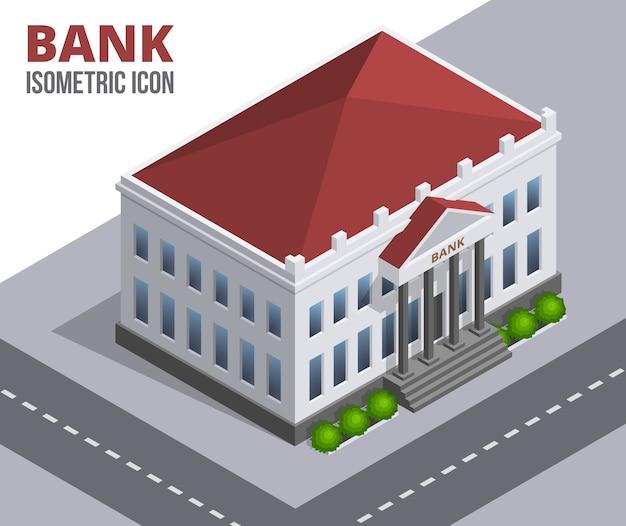 은행 건물. 열과 빨간 지붕이있는 건물의 아이소 메트릭 그림