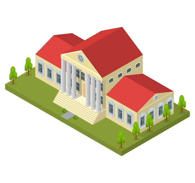 Bank building in isometric view