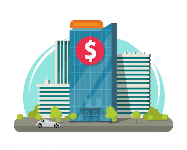 Bank building or modern office on city street illustration