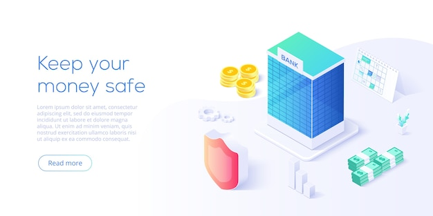 Bank building in money transaction concept in isometric design