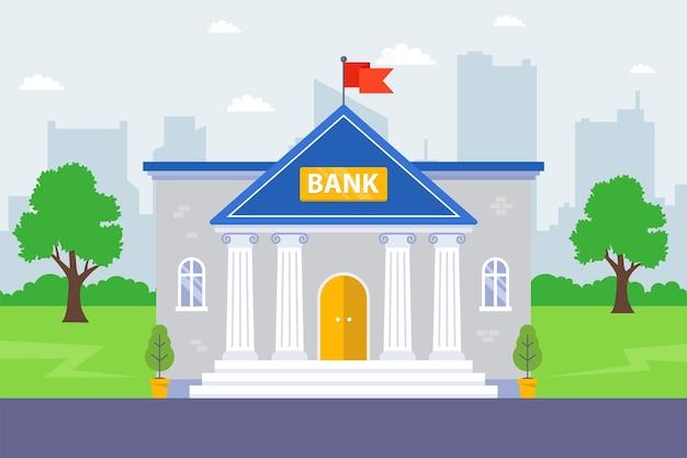 Здание банка на фоне города. финансовое учреждение. плоская иллюстрация.
