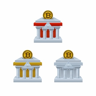 Bank building shaped piggy bank icons with bitcoin
