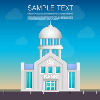 Bank building on the street. vector illustration