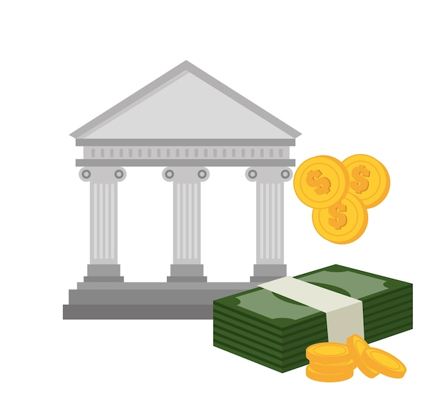 Bank building with bill and currency isolated