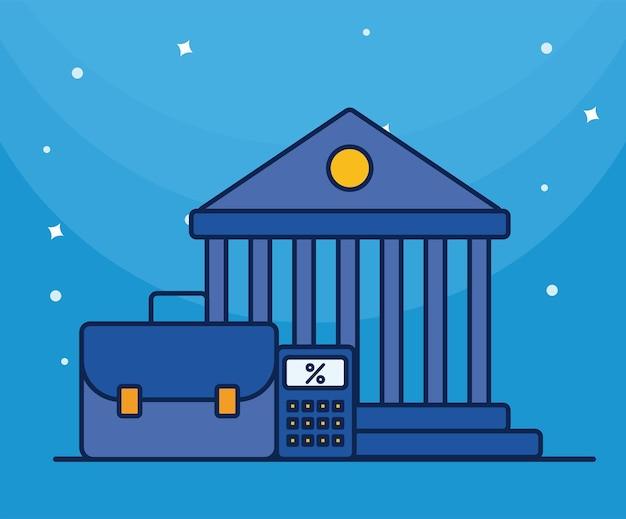 ポートフォリオと電卓フラットスタイルアイコンと銀行の建物