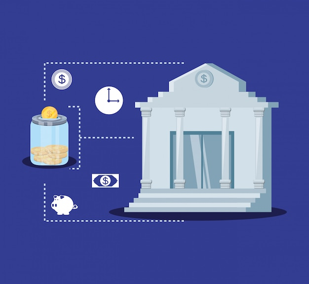 Bank building with set icons economy finance