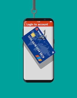 銀行カードと釣りフック。