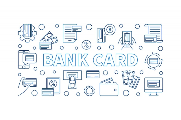 Bank card outline concept horizontal banner. icon illustration