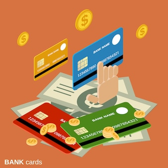 Bank cards flat 3d isometric vector concept illustration