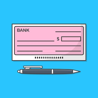 Bank check or bank cheque with pen icon illustration