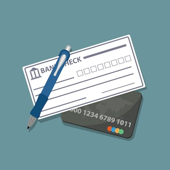 Bank check and credit card