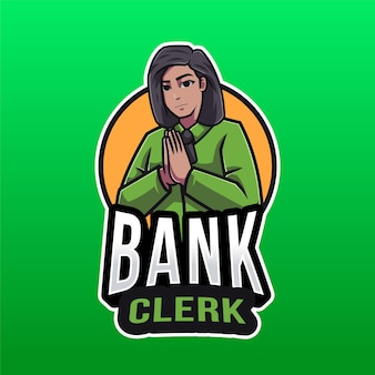 Bank clerk logo template isolated on green
