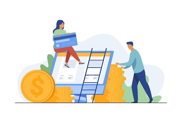 Клиент банка заказывает кредитную карту онлайн. женщина на мониторе с подписанным соглашением, деньгами, наличными плоскими векторными иллюстрациями. сервис онлайн-банка