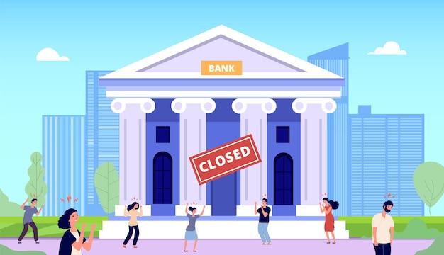 銀行は閉鎖されました。金融危機、人々は破産しました。政府の建物に怒っている群衆。欲求不満の男性女性のお金、銀行投資状況ベクトル。危機金融銀行、経済イラスト