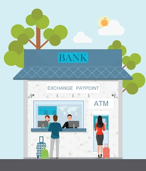 Bank counter currency exchange service and atm with customer, vector illustration.