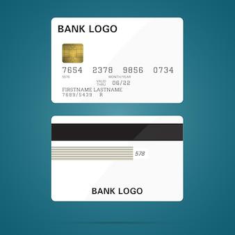 Макет банковской кредитной карты векторная иллюстрация пустой бизнес шаблон на зеленом градиенте