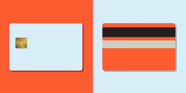 Банковская кредитная карта вектор макет пустой бизнес шаблон на цветном фоне