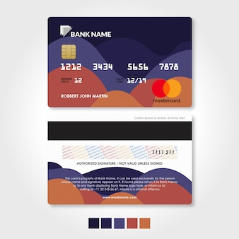 Bank credit and debit card template with red and purple