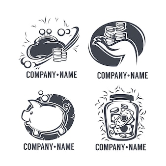 Bank, credit and finance logo set