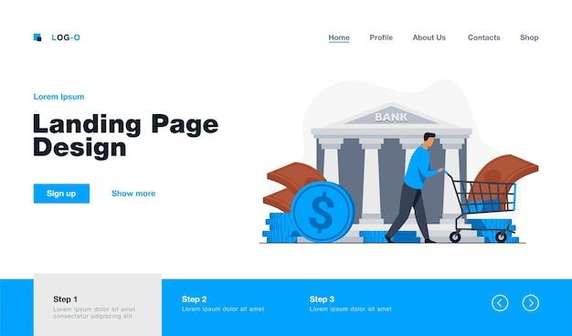 Bank customer getting loan landing page in flat style