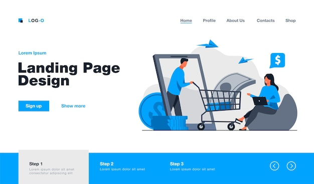 Bank customer getting loan online landing page in flat style