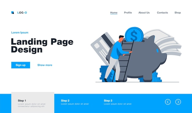 Bank customer saving money landing page in flat style