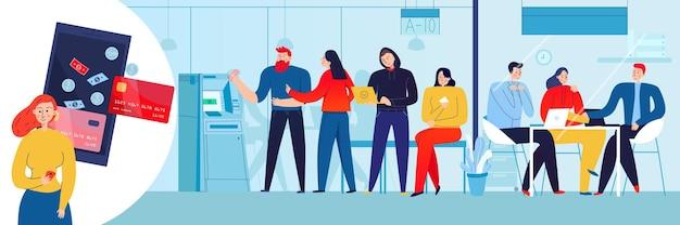 Atm을 사용하는 은행 고객과 온라인 모바일 응용 프로그램을 사용하는 여성 평면 그림 무료 벡터