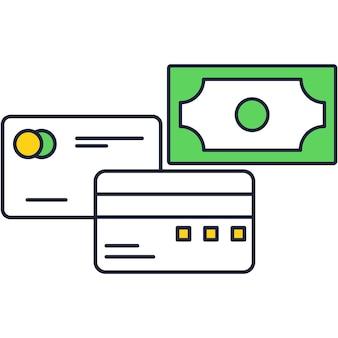 지불 및 돈 거래 플랫 아이콘 벡터를 위한 은행 직불 카드 또는 신용 카드. 금융 운영 일러스트레이션을 위한 전자 화폐