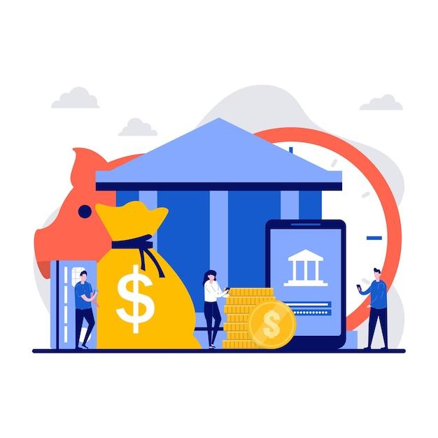Концепция банковского депозита с крошечным характером.
