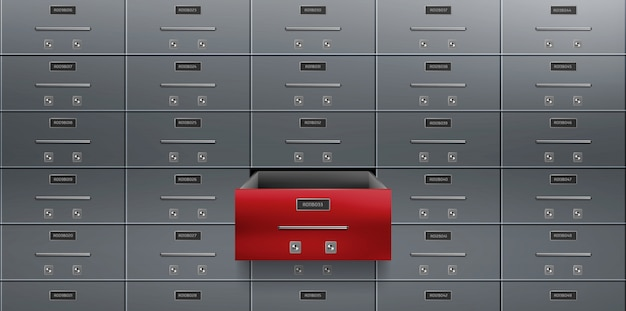 Bank deposit safe boxes wall one red opened locker