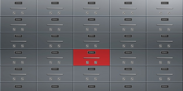 Bank deposit safe boxes wall realistic vector