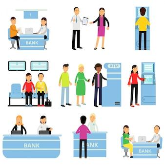 Сотрудники банка и клиенты в разных ситуациях. консультант консультирует клиента, люди сидят в очереди, мужчина получает деньги в банкомате. плоский дизайн