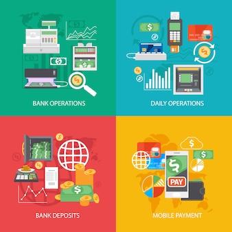 Set di composizioni di attrezzature e pagamenti bancari