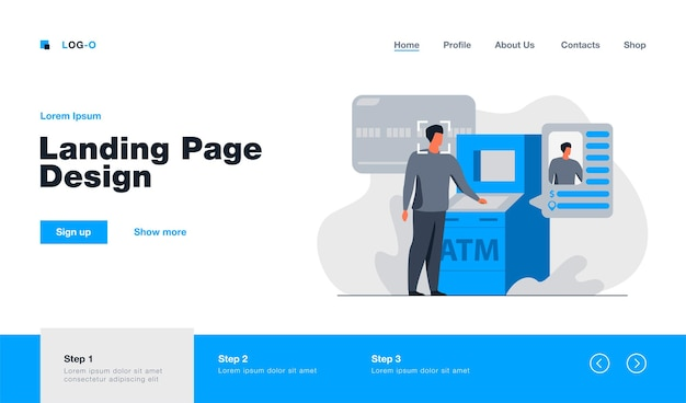 Bank face recognition technology landing page in flat style