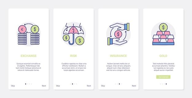 은행 금융 보험 및 안전, ux, ui 온 보딩 모바일 앱 페이지 화면 라인 세트