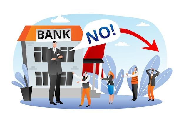 銀行の金融危機、経済の秋のイラスト。ローンやクレジットのためのファイナンスなし、ビジネスの破産。銀行金融の失敗、経済融資株のコンセプト。投資、不況。