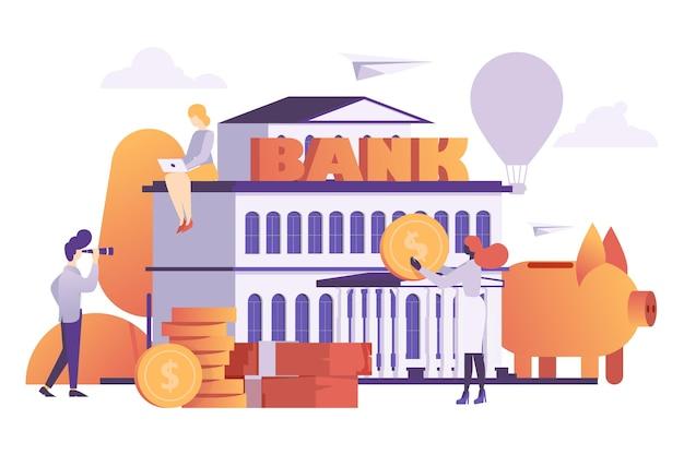 銀行の金融システムの小さな労働者のビジネスマンのキャラクターの女性の仕事のラップトップと男性の時計のスパイグラス...