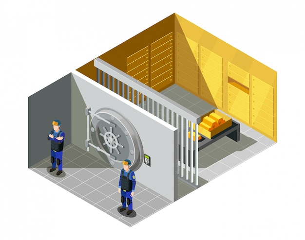 Bank gold vault isometric composition