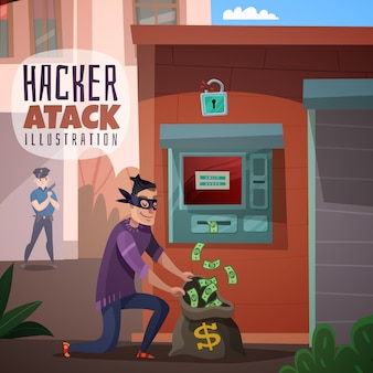 Bank hacking cartoon illustration