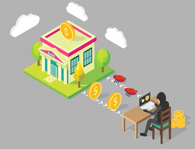 Bank hacking concept illustration