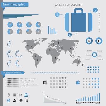 흰색 배경에 은행 infographic 요소