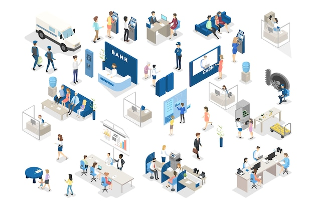 Bank interior isometric. people standing in the bank office and making financial operations with money. reception, money exchange and credit department. isolated vector illustration