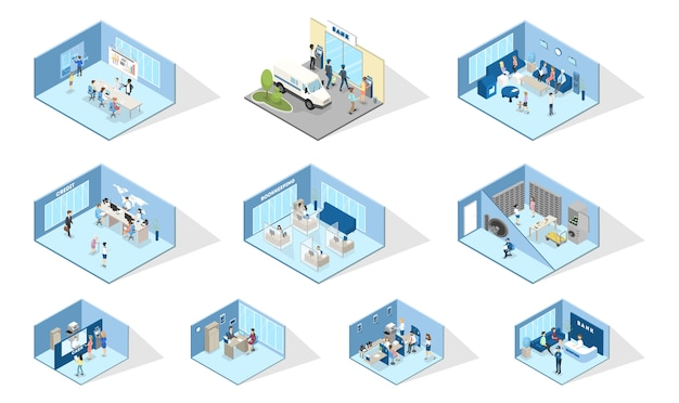Bank interior. set of isometric bank offices. people making financial operations with money. entrance, reception, atm, money exchange and credit department. isolated vector illustration